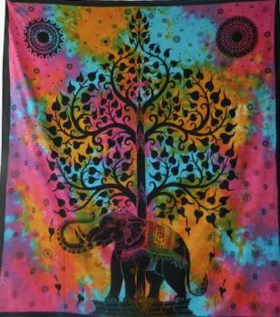 Tagesdecke Elefantenbaum rot/rosa